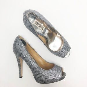 Badgley Mischka Silver Glitter Peep Toe Pumps 8